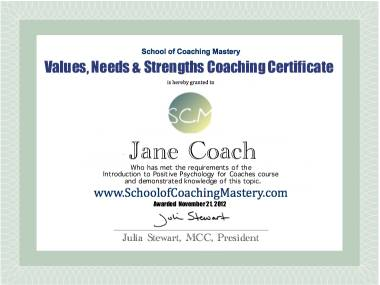 Values Needs Strengths Coaching Certificate