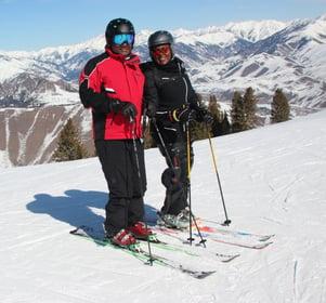 Coach Stephanie Harris and Husband Mark Skiing 2020