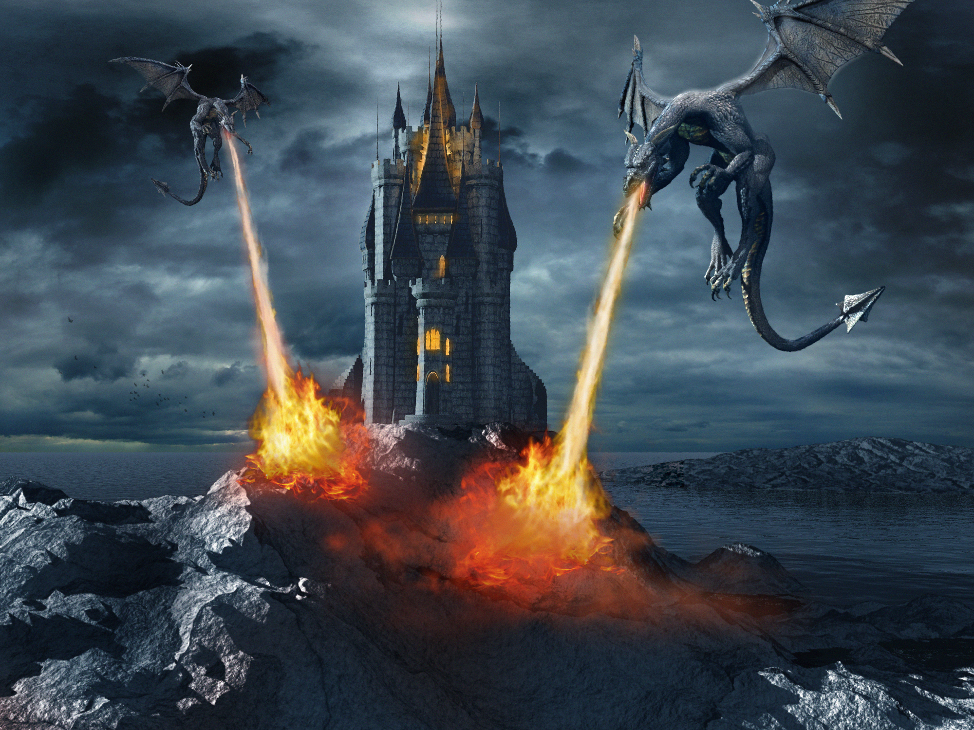 dragons and castle
